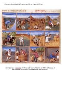 Calendrier travaux agricoles - paysans Moyen-âge